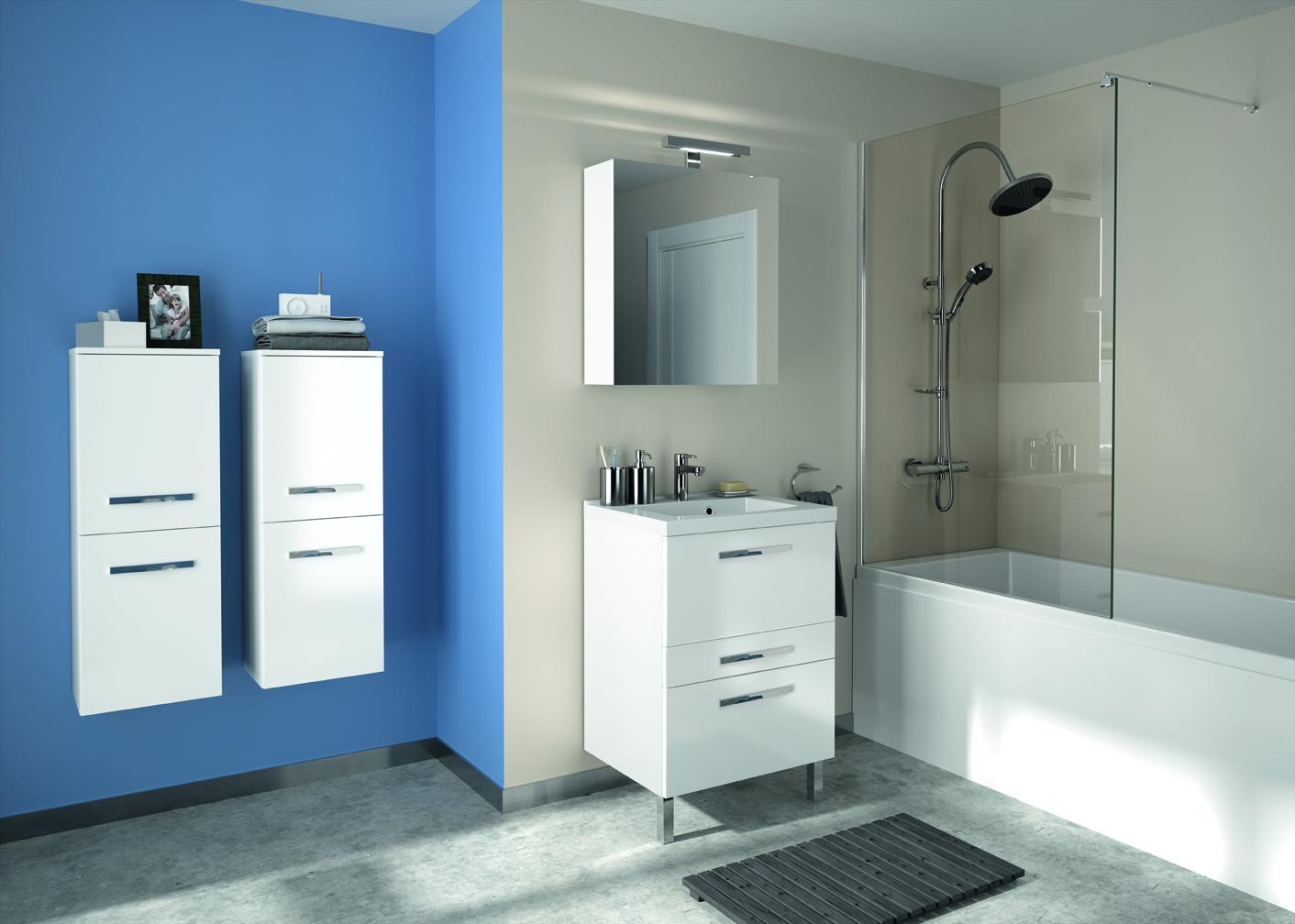 Meuble de salle de bain prefixe code tiroirs a poser for Meuble salle de bain 60