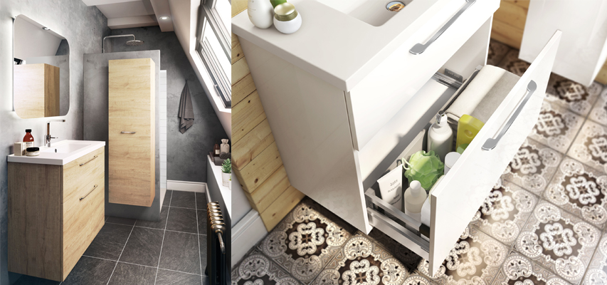 meuble de salle de bain gain de place brooklyn fit line aquarine pro. Black Bedroom Furniture Sets. Home Design Ideas