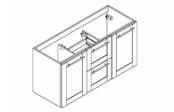 COVENTRY Meuble sous-plan de toilette 120 cm
