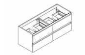 CONTRAST Meuble sous-plan de toilette 120 cm - 4 tiroirs