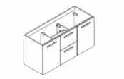 PREFIXE TIROIRS Meuble sous-plan de toilette 105 cm
