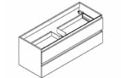 CONTRAST Meuble sous-plan de toilette 120 cm - Vasque centrée