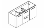 PREFIXE TIROIRS Meuble sous-plan toilette 120 cm - Vasque centrée
