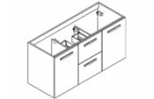 PREFIXE CODE TIROIRS A SUSPENDRE Meuble sous-plan toilette 120 cm - Vasque centrée