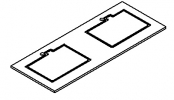 PREFIXE CODE PMR Plan stratifié 130 cm avec 2 découpes pour vasques à encastrer