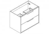 NEWPORT Meuble sous-plan de toilette avec poignées - 2 tiroirs - 80 cm