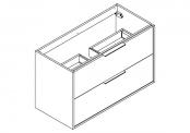 NEWPORT Meuble sous-plan de toilette avec poignées - 2 tiroirs - 100 cm