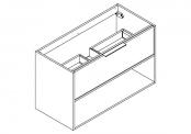 NEWPORT Meuble sous-plan de toilette avec poignées - 1 tiroir et 1 niche - 100 cm