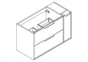 NEWPORT Meuble sous-plan de toilette avec poignées - 2 tiroirs et 1 flaconnier - 100 cm