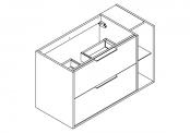 NEWPORT Meuble sous-plan de toilette avec poignées - 2 tiroirs et 1 niche - 100 cm