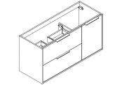 NEWPORT Meuble sous-plan de toilette avec poignées - 2 tiroirs et 1 porte - 120 cm (pour plan double vasque)