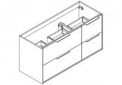 NEWPORT Meuble sous-plan de toilette avec poignées - 4 tiroirs - 120 cm