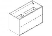 NEWPORT Meuble sous-plan de toilette avec système push-pull - 2 tiroirs - 100 cm