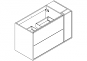NEWPORT Meuble sous-plan de toilette avec système push-pull - 2 tiroirs et 1 flaconnier - 100 cm
