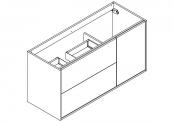 NEWPORT Meuble sous-plan de toilette avec système push-pull - 2 tiroirs et 1 porte - 120 cm (pour plan double vasque)