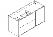 NEWPORT Meuble sous-plan de toilette avec système push-pull - 2 tiroirs et 1 porte - 120 cm (pour simple vasque)