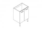 EKO'LINE Meuble sous-plan de toilette - 60 cm - 2 portes