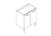 EKO'LINE Meuble sous-plan de toilette - 70 cm - 2 portes