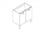 EKO'LINE Meuble sous-plan de toilette - 80 cm - 2 portes