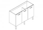 EKO'LINE Meuble sous-plan de toilette - 120 cm - 3 portes