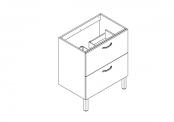 EKO'LINE Meuble sous-plan de toilette - 70 cm - 2 tiroirs