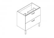 EKO'LINE Meuble sous-plan de toilette - 80 cm - 2 tiroirs