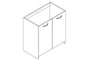 EKO'LINE A POSER Meuble sous-plan de toilette - 80 cm - Portes