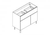 BROOKLYN A POSER Meuble sous-plan de toilette 100 cm - 2 tiroirs 1 porte