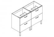 EKO'LINE Meuble sous-plan de toilette - 120 cm - 4 tiroirs