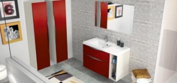 Meuble salle de bain complet rouge